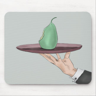 Waiter s Hand Serving an Eaten Pear on a Tray Mousepad