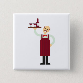 Waiter with Wine 2 Inch Square Button