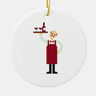 Waiter with Wine Ceramic Ornament