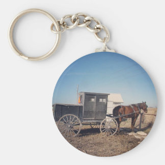 Waiting Amish Horse and Buggy Basic Round Button Keychain