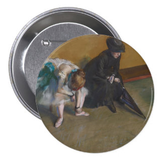Waiting by Edgar Degas 3 Inch Round Button