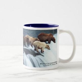 Waiting For Salmon Two-Tone Coffee Mug