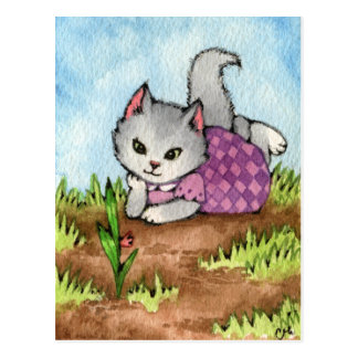 Waiting for the Garden to Grow - Cute Cat Art Postcard