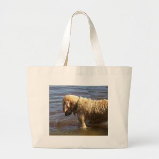 Waiting Golden Large Tote Bag