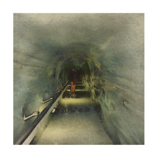 Waiting in the Ice Tunnel Wood Print