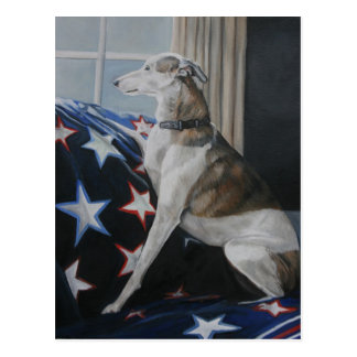 Waiting Whippet Dog Art Postcard