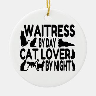 Waitress Cat Lover Ceramic Ornament