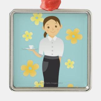 Waitress Metal Ornament