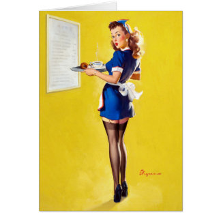 Waitress Pin Up Card
