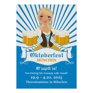 Waitress with Stein Oktoberfest Poster