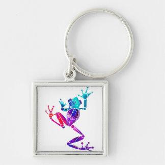 WakanaFrogPurpleBlue Silver-Colored Square Keychain