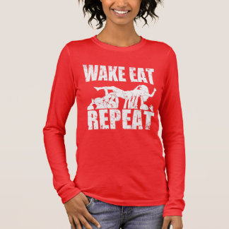 WAKE EAT crowd surf REPEAT (wht) Long Sleeve T-Shirt