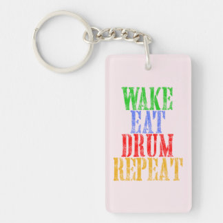 Wake Eat DRUM Repeat Keychain