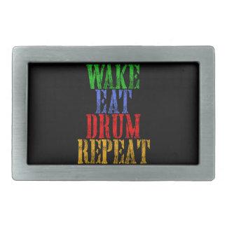 Wake Eat DRUM Repeat Rectangular Belt Buckle