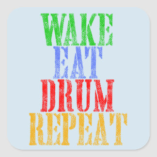 Wake Eat DRUM Repeat Square Sticker