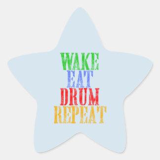 Wake Eat DRUM Repeat Star Sticker