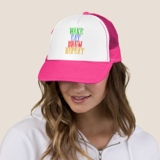 Wake Eat DRUM Repeat Trucker Hat