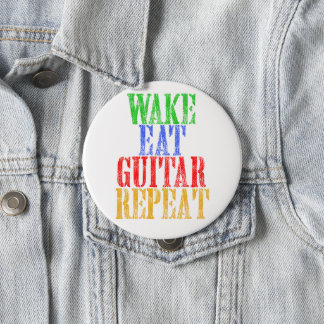 Wake Eat GUITAR Repeat 4 Inch Round Button
