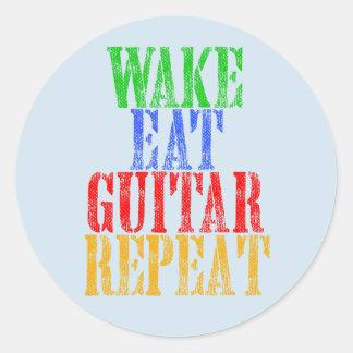 Wake Eat GUITAR Repeat Classic Round Sticker