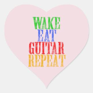 Wake Eat GUITAR Repeat Heart Sticker