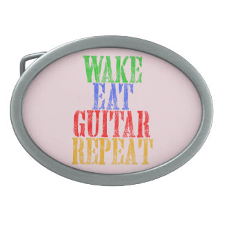 Wake Eat GUITAR Repeat Oval Belt Buckle