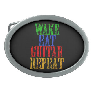 Wake Eat GUITAR Repeat Oval Belt Buckles
