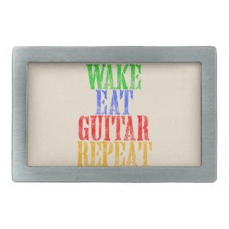Wake Eat GUITAR Repeat Rectangular Belt Buckle