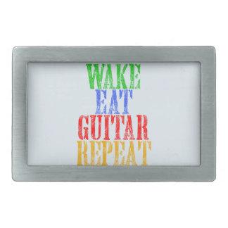 Wake Eat GUITAR Repeat Rectangular Belt Buckles