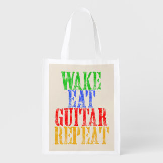 Wake Eat GUITAR Repeat Reusable Grocery Bag