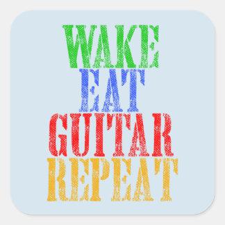 Wake Eat GUITAR Repeat Square Sticker