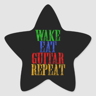 Wake Eat GUITAR Repeat Star Sticker