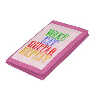 Wake Eat GUITAR Repeat Tri-fold Wallet