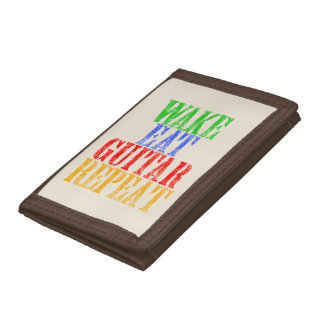 Wake Eat GUITAR Repeat Trifold Wallet