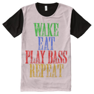 Wake Eat PLAY BASS Repeat All-Over-Print T-Shirt