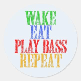 Wake Eat PLAY BASS Repeat Classic Round Sticker