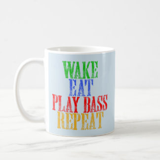 Wake Eat PLAY BASS Repeat Coffee Mug