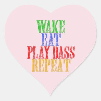 Wake Eat PLAY BASS Repeat Heart Sticker