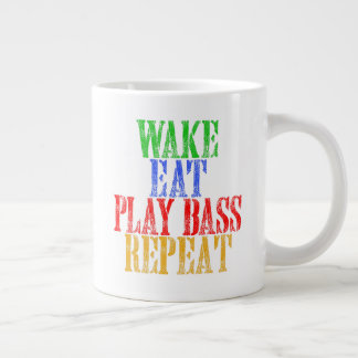 Wake Eat PLAY BASS Repeat Large Coffee Mug
