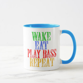 Wake Eat PLAY BASS Repeat Mug