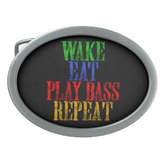 Wake Eat PLAY BASS Repeat Oval Belt Buckle