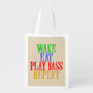 Wake Eat PLAY BASS Repeat Reusable Grocery Bag