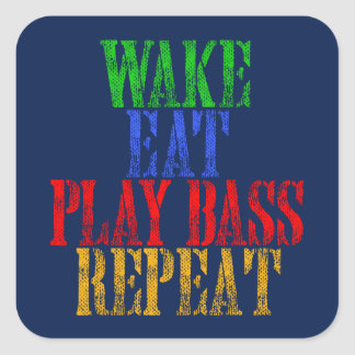 Wake Eat PLAY BASS Repeat Square Sticker