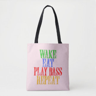 Wake Eat PLAY BASS Repeat Tote Bag