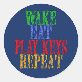 Wake Eat PLAY KEYS Repeat Classic Round Sticker