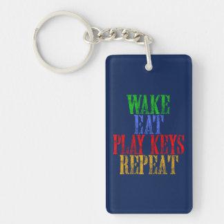Wake Eat PLAY KEYS Repeat Keychain