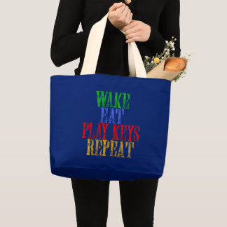 Wake Eat PLAY KEYS Repeat Large Tote Bag