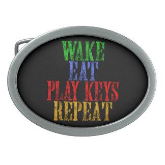 Wake Eat PLAY KEYS Repeat Oval Belt Buckle