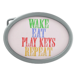 Wake Eat PLAY KEYS Repeat Oval Belt Buckles