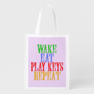 Wake Eat PLAY KEYS Repeat Reusable Grocery Bag