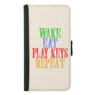 Wake Eat PLAY KEYS Repeat Samsung Galaxy S5 Wallet Case